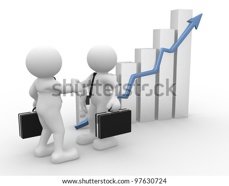 3d people - men, person with briefcase and a graph . Concept of partnership.  Businessman - stock photo
