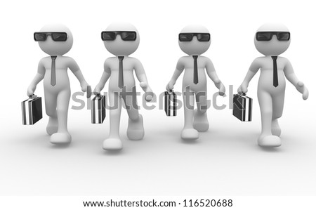 3d people - men, person with briefcase and sunglasses - stock photo