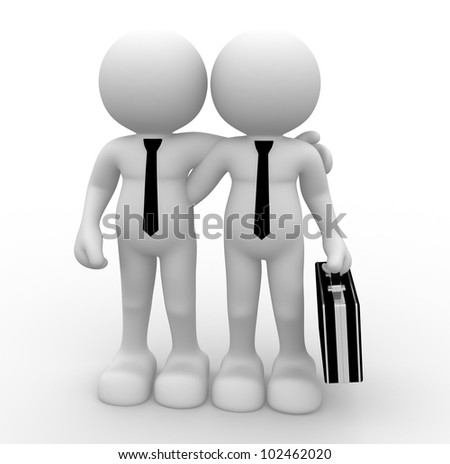 3d people - men, person with briefcase. Partnership, friends . Businessmen