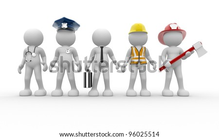 3d people - men, person with different professions. Doctor, policeman, businessman, engineer, fireman - stock photo