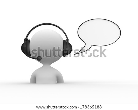 3d people - men, person with headphones with microphone