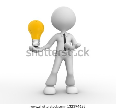 3d people - men, person with lightbulb