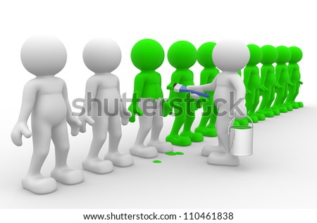 3d people - men, person with paintbrush and bucket