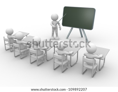 3d people - men , person with pointer in hand close to blackboard. Concept of education and learning.