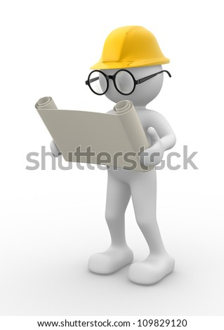 3d people - men , person with project. Engineer - stock photo