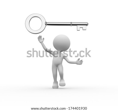 3d people - men, person with silver key - stock photo