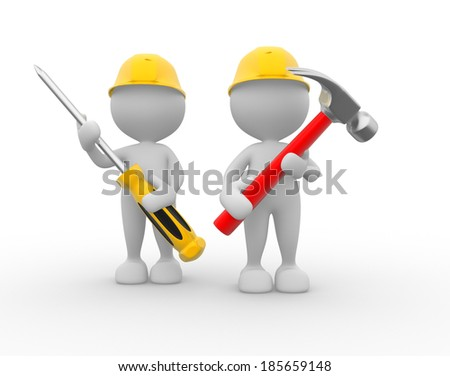 3d people - men, person with the tools in the hands. Hammer and screwdriver