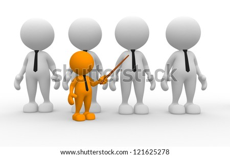 3d people - men, person with tie. Leadership and team. Businessman