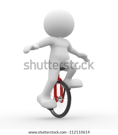 3d people - men, person with unicycle. - stock photo
