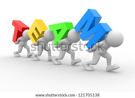 "3d people - men, person with word ""team"". Concept of teamwork - stock photo"