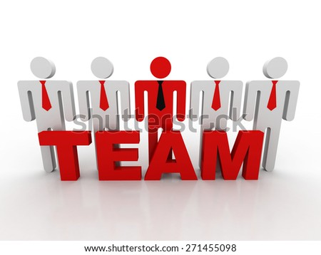 "3d people - men, person with word "" teamwork "". Businessman"