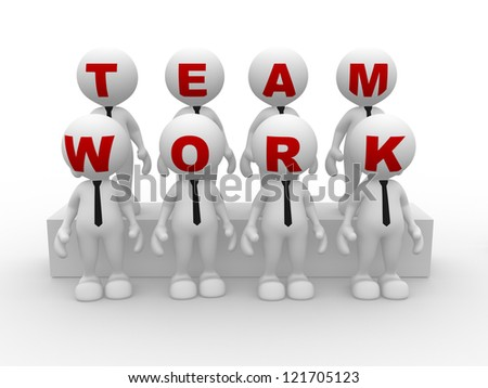 "3d people - men person  with word ""teamwork"". Businessmen"