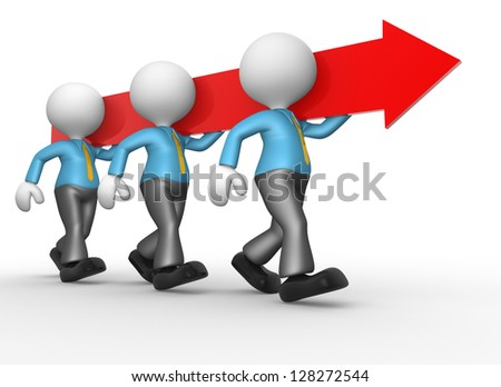 3d people - men, persons carry an arrow. Concept of teamwork - stock photo