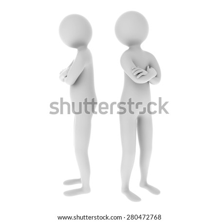 3d people misunderstanding each other isolated on white background - stock photo