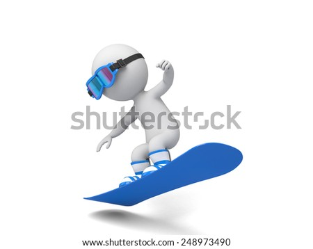3d people on a snowboard flying. 3d image. Isolated white background. - stock photo