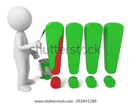3d people paint exclamation marks. 3d image. Isolated white background