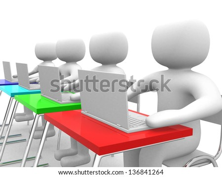 3d people person and laptop at office. Business partners. 3d render illustration