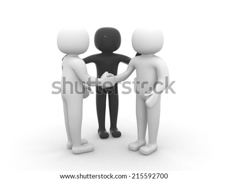 3d people - person together. Business team joining hands concept. 3d render