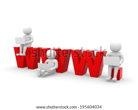 3d people, person who stand on the word work - 3d render illustration - stock photo