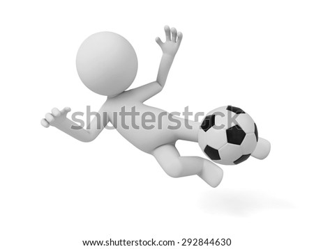 3d people playing football, 3d image. Isolated white background. - stock photo