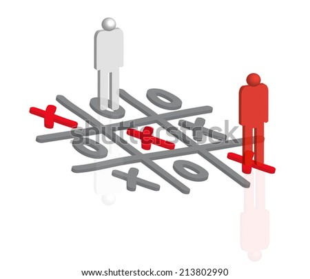 3D People playing tic tac toe  - stock photo