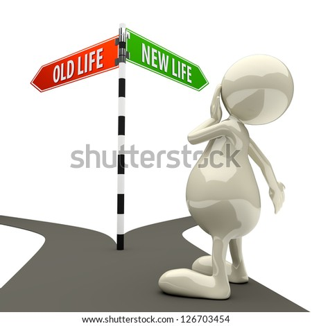 3D People Road Sign Old Life New Life on White Background - stock photo