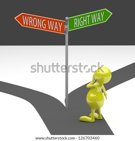 3D People Road Sign Wrong Way on Grey Background - stock photo