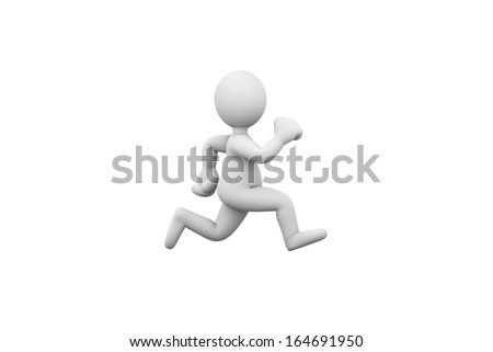 3D people running.