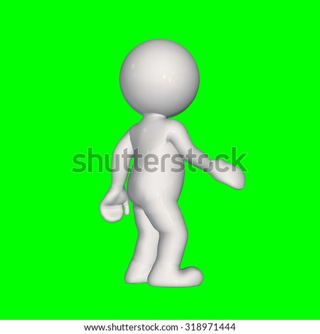 3D People -  shake hands 1 - green screen