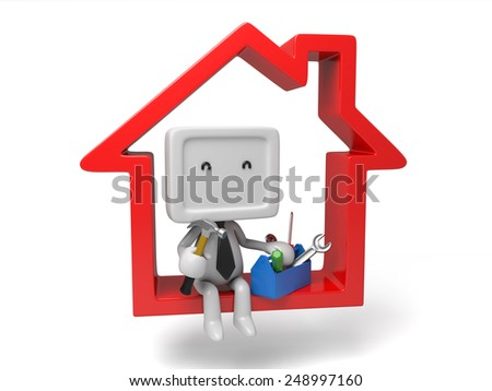 3d people sitting on a house with a toolbox. 3d image. Isolated white background - stock photo