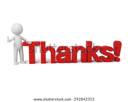3d people sitting on a text of thanks. 3d image. Isolated white background.
