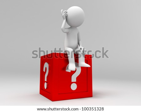 3d people sitting on the box with question mark - stock photo