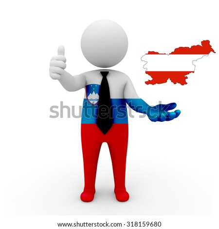 3 D people Slovenia businessman - map flag of Slovenia in Austria flag colors. Austrians in Slovenia  - stock photo