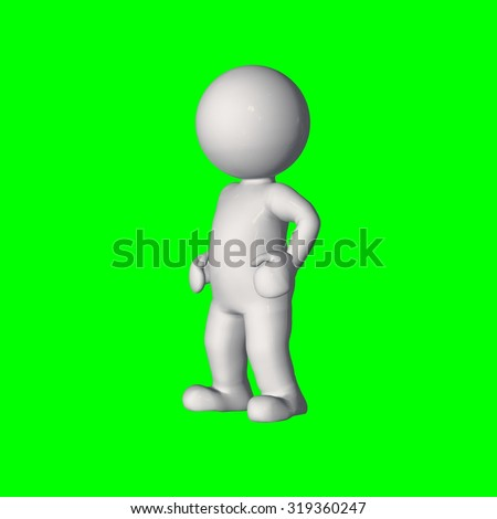 3D people - stand 2 - green screen