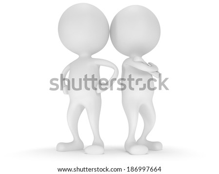 3d people stand on white. Business, teamwork, partnership concept.