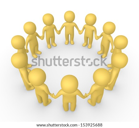 3d people standing in the circle and holding hands together - stock photo