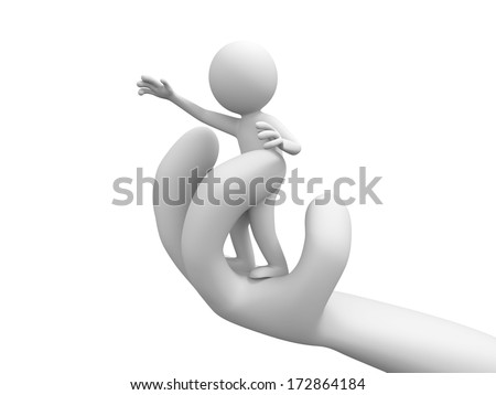 3d people standing on a big hand