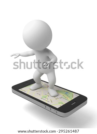 3d people standing on a smart phone, gps, 3d image. Isolated white background.