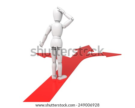 3d people standing on directional signs. 3d image. Isolated white background - stock photo