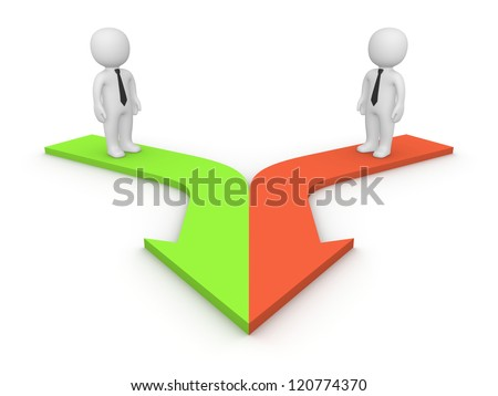 3d people standing on merging arrows. 3d rendering. - stock photo