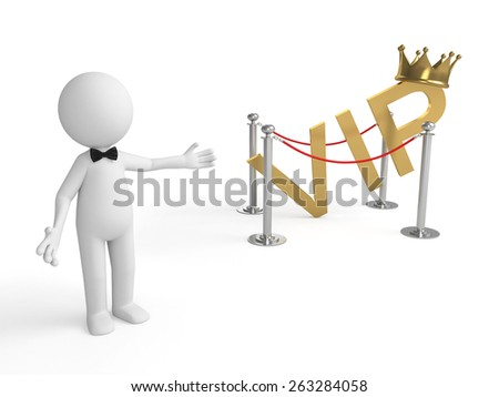 3d people standing with a word of VIP. 3d image. Isolated white background - stock photo
