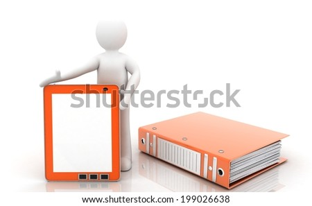 3D people (Tablet computer) - stock photo