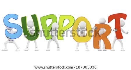 3d people - team, person with word Support - stock photo