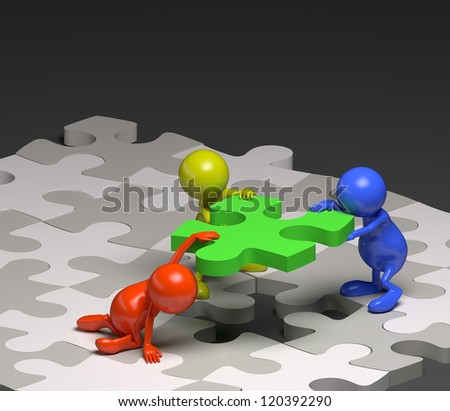 3d people teamwork with puzzle concept - stock photo