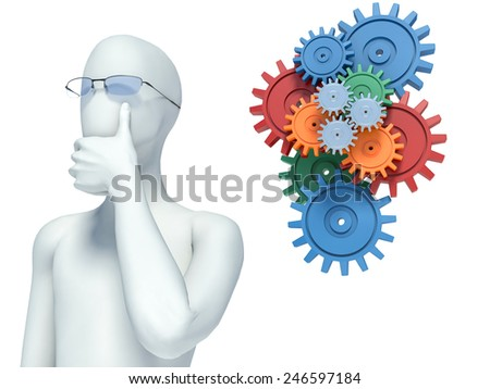 3d people thinking along - stock photo