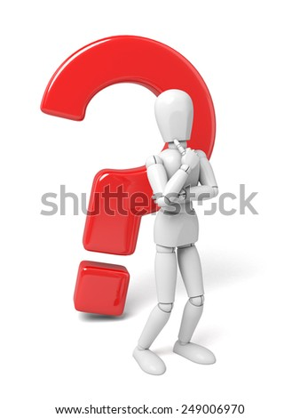 3d people thinking with some question mark. 3d image. Isolated white background - stock photo