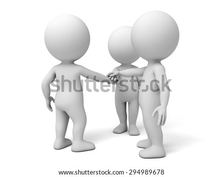 3d people together. Business team joining hands concept. 3d image. Isolated white background.