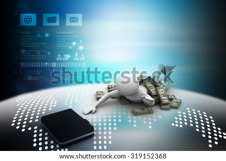 3d people under the money with business bag in color background - stock photo