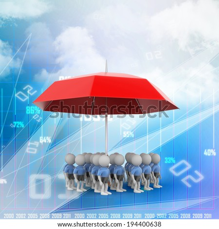 3d people under the red colour umbrella - stock photo
