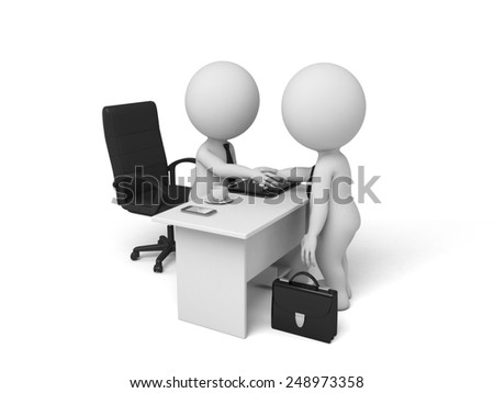 3d people visit another one. Concept of partnership. 3d image. Isolated white background